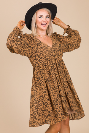 Leopard Babydoll Dress, Taupe