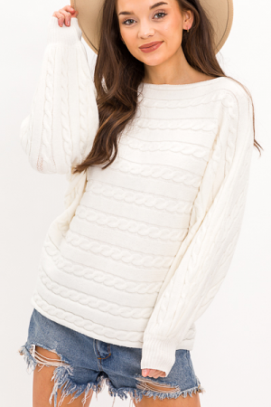 Horizons Cable Sweater, Off White