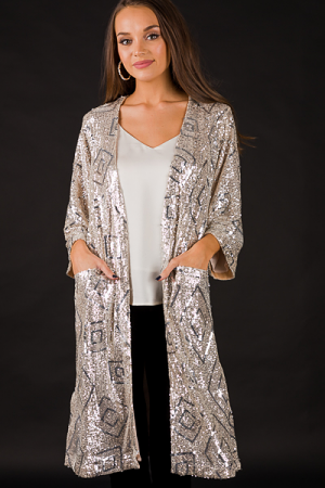 Sequin Belted Duster, Champagne