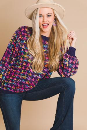 Navy Tweed Sweater