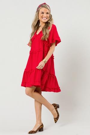 Ramona Ruffle Tier Dress, Red