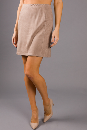 Stretchy Suede Skirt, Taupe
