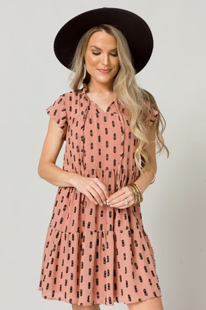 Hex Texture Dress, Dusty Rose