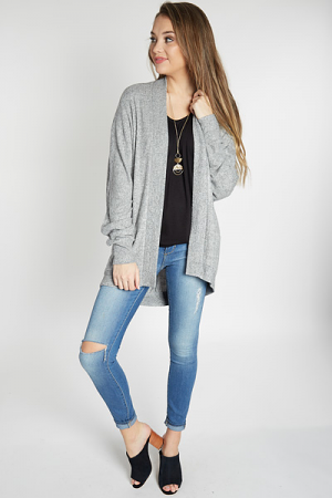 Brushed Knit Cardi, Heather Grey