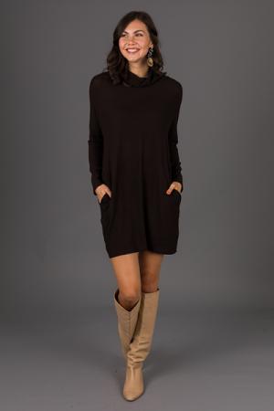 So Soft Turtleneck Dress, Black