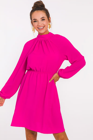 High Society Solid Dress, Hot Pink