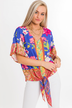 Bandana Sleeve Floral Top
