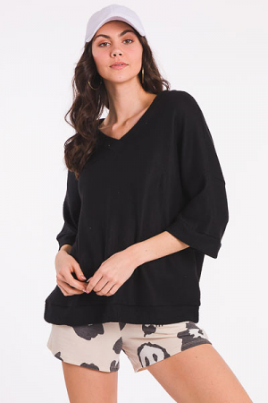 Brushed Boxy Top, Black