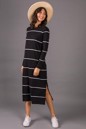 Owen Midi Dress, Black White