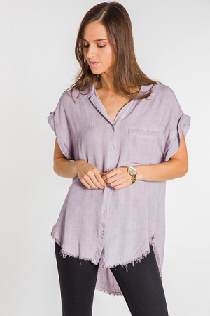 Mauve with Me Frayed Top