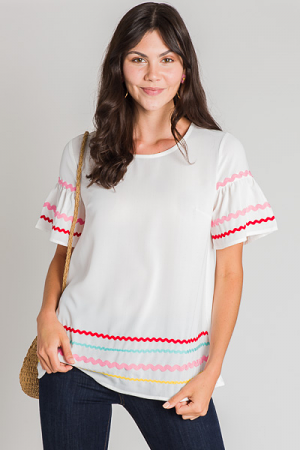Short Sleeve Ric Rac Blouse, White