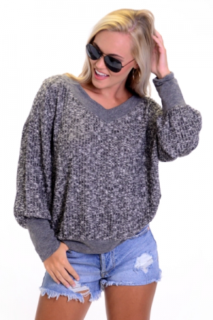 Ash Ribbed Pullover
