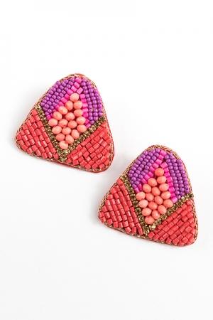 Triangle Bead Earrings, Red