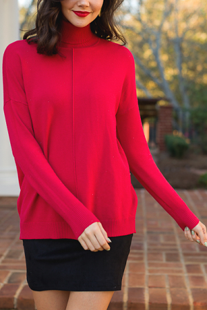 Caroline Turtleneck, Red