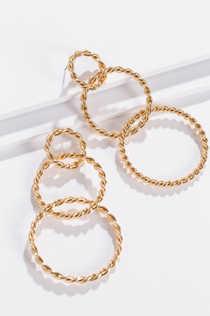 Gold Rope Trio Earring