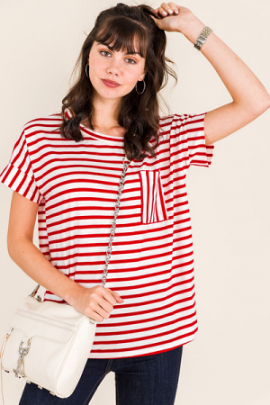 Suze Striped Tee, Red