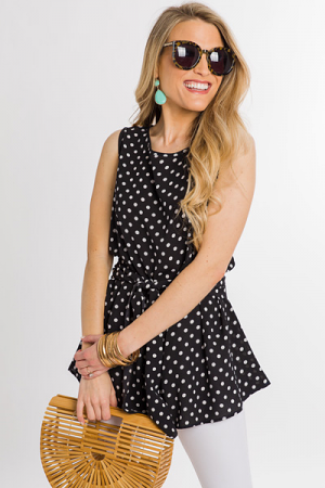 Dotted Tie Top, Black