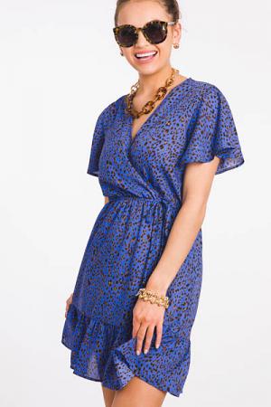 Blue Cheetah Wrap Dress