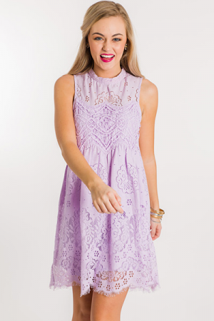 Eyelash Lace Dress, Lilac