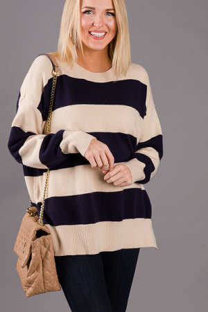 Sailor Colorblock Sweater, Navy