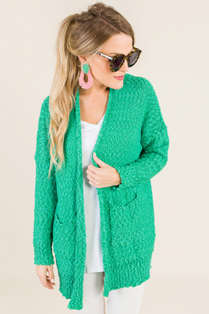 Cozy Does It Cardi, Mint Green