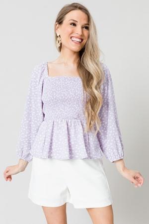 Smock Top, Lavender Floral