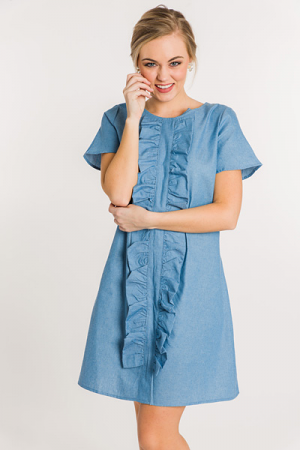 Ruffle Front Denim Dress