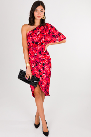 Rose One Shoulder Midi