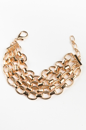 4 Row Chain Bracelet, Gold