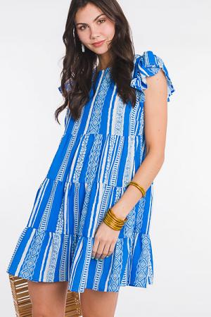 Multi Stripe Tiered Dress, Blue