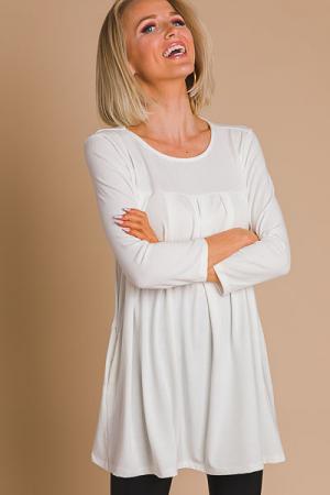 Pleated Knit Tunic, Ivory