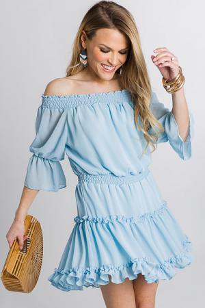 Smocked Dress, Blue Rain