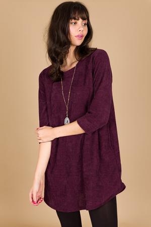 Chenille Pocket Dress, Burgundy