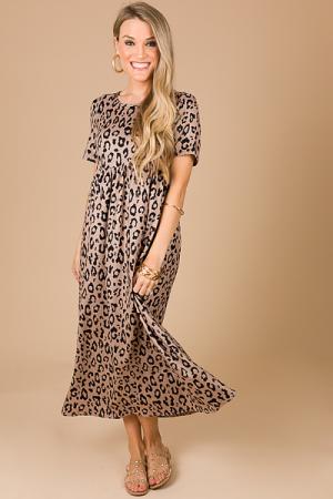 Blanket Soft Leopard Midi, Taupe