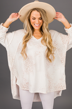 Faded Leopard Tunic, Taupe Mix