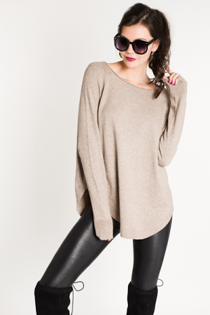Scooped Bottom Sweater, Mocha