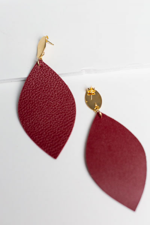 Long Leather Earring, Maroon