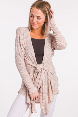 Front Tie Ribbed Cardi