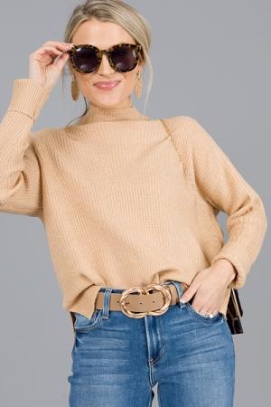 Mockery Solid Sweater, Camel