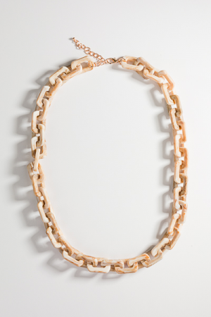 Acrylic Chain Necklace, Ivory