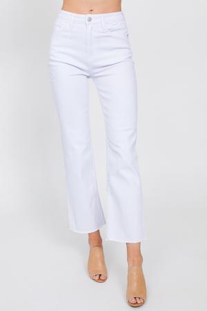 Raw Hem Straight Jean, White