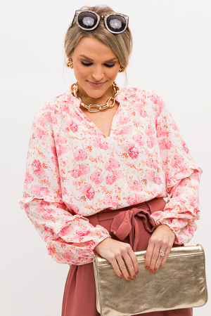 Posie Floral Blouse, Ivory Pink