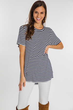 Tucker Jersey Tunic, Navy Stripe