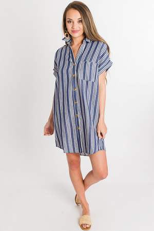 Denim Stripes Shirt Dress