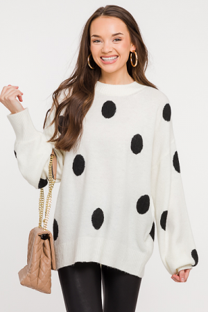 Dancing Dots Sweater, Ivory