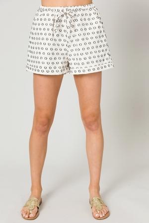 Texture Spot Linen Shorts, Ivory
