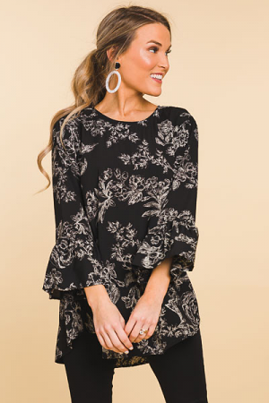 Bethany Tunic, Black Floral