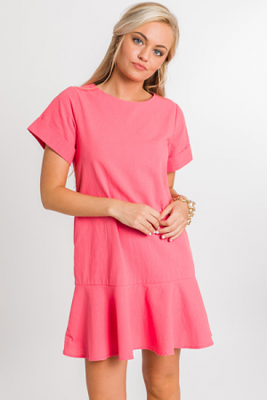 Rachel Cotton Dress, Coral