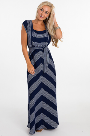 Square Neck Maxi, Navy