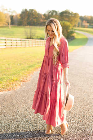 Shimmer Tiered Midi, Rose